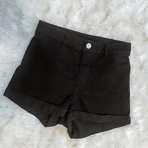 Black Jean High Waisted Shorts